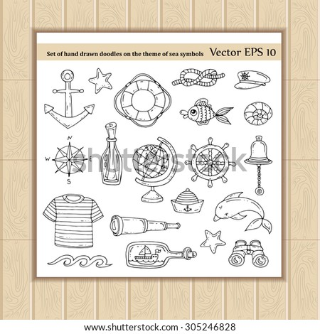 Vector set of hand drawn doodles on the theme of sea symbols. Isolated illustrations. Sketches for use in design, web site, packing, textile, fabric