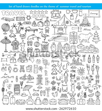 Vector set of hand drawn doodles on the theme of summer travel and tourism on white background. Sketches for use in design