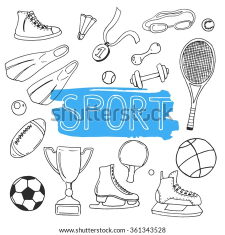 Vector set of hand drawn doodles. Sport icons. Sketch. Linear vector illustration. - stock vector