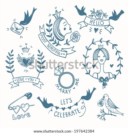 vector set of hand drawn emblems and elements in a vintage style - stock vector