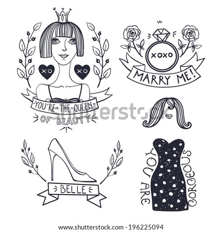 vector set of hand drawn emblems in a vintage style - stock vector