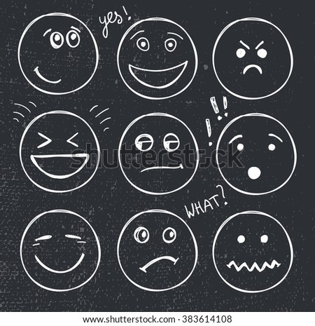 vector set of hand drawn faces, moods, smiles isolated. Illustration, doodle. School, blackboard