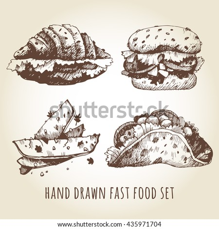 Vector set of hand-drawn fast food. Burger, fries, tacos and croissant with tomato and lettuce drawn in vintage style. Hand-drawn illustrations for menu cafe or restaurant. - stock vector