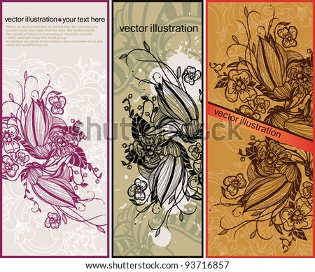 vector set of hand drawn floral cards - stock vector