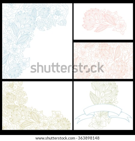vector set of hand drawn floral cards with linear flowers for wedding design, invitations and cards