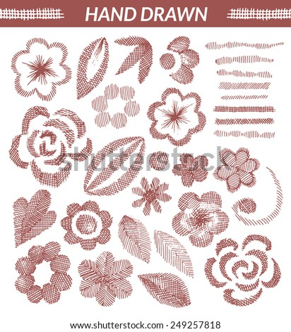 Vector set of hand drawn floral elements. Isolated objects, made with strokes by ink pen. Editable, monochromatic.  - stock vector
