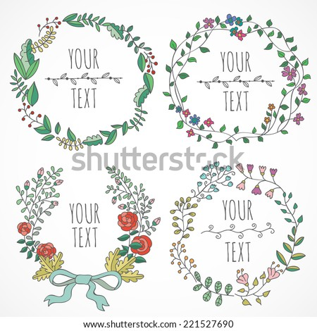 Vector set of hand drawn floral wreaths - stock vector