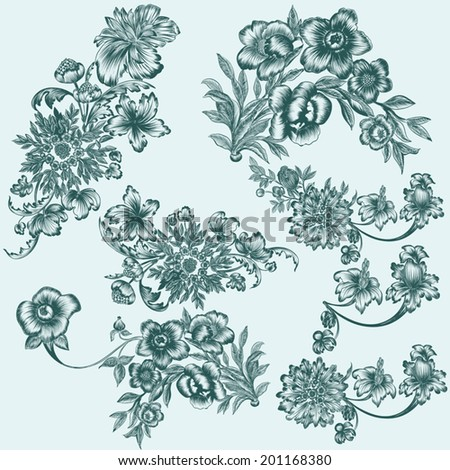 Vector set of hand drawn flowers for design - stock vector