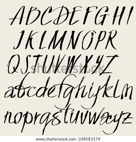 Vector set of hand drawn font. Alphabet of the calligraphy upper and lower case letters - stock vector
