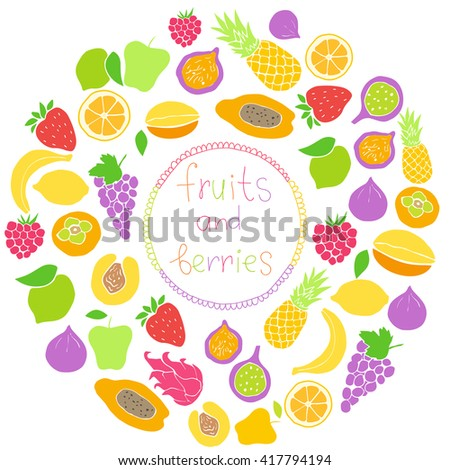 Vector set of hand drawn fruit and berries icons. Doodle set of different fruits and berries. Healthy food. Exotic fruits. Collection of fruits and berries. Colored silhouettes of fruit in round shape