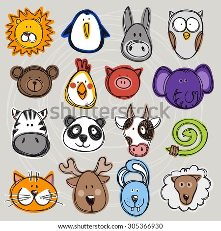 Vector set of hand drawn funny doodle animals, sketch style. Good for children's stuff, invitations, stationery. - stock vector