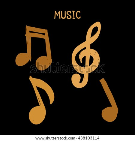 Vector Set of Hand-drawn gold music notes on white background for design, doodle illustration