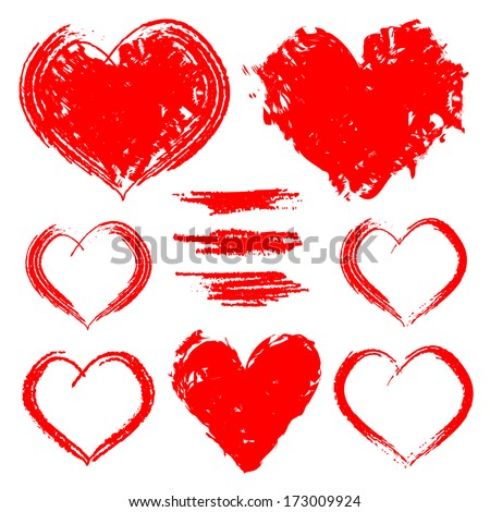 Vector set of hand drawn hearts isolated on white for valentine's day designs - stock vector