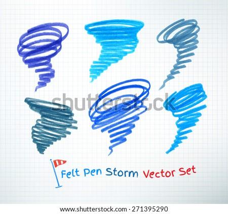 Vector set of hand drawn hurricane symbols. - stock vector