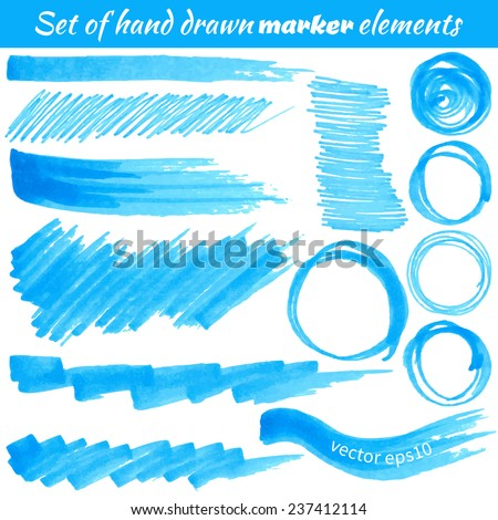Vector set of hand drawn marker elements. Element for your design. - stock vector