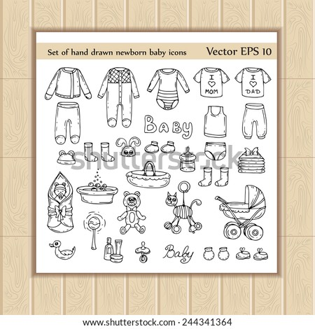 Vector set of hand drawn newborn baby icons. Sketches for use in design - stock vector