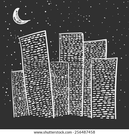 Vector set of hand-drawn night city on black background - stock vector