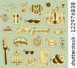 Vector set of hand drawn objects in vintage style - stock vector