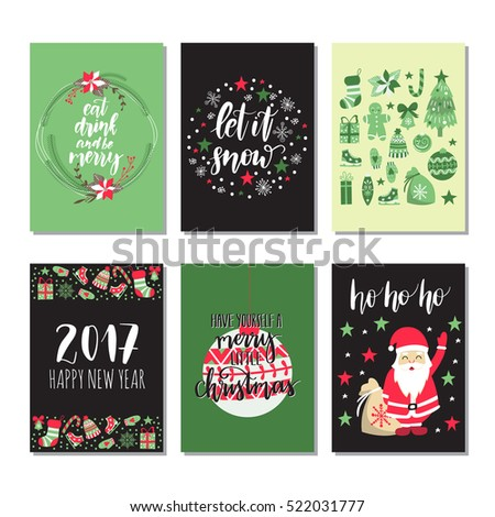 Vector set of hand drawn of Christmas greeting cards. Great print for invitations, posters, tags. Let it snow. Happy New Year.  Festive banners in flat cartoon style,colorful colors