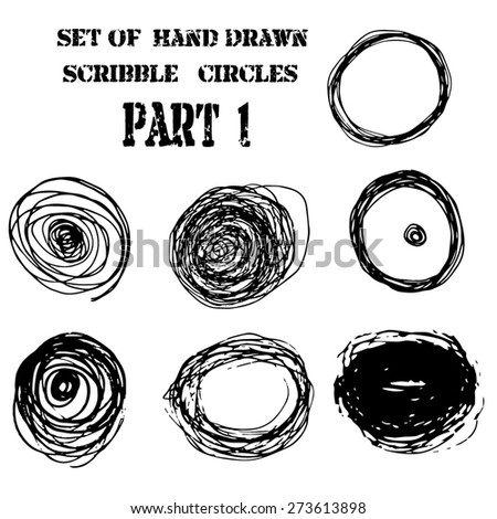 Vector set of hand drawn scribble circles design elements. illustration of pen art . - stock vector