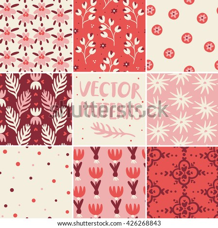 vector set of hand drawn seamless patterns