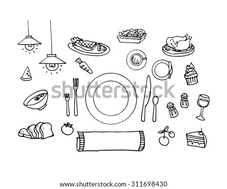 Vector set of Hand drawn sketch doodles in restaurant , dinner , food concept