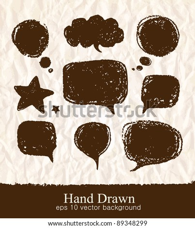 Vector set of hand-drawn speech bubbles - stock vector