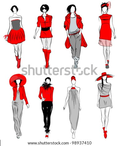 Vector set of hand drawn style elegant, stylized fashion models illustration - stock vector