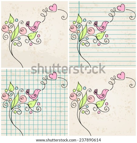 Vector set of hand drawn style illustration of cute bird in love - stock vector