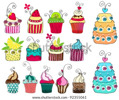 Vector set of hand drawn style illustrations of cute retro cupcakes - stock vector
