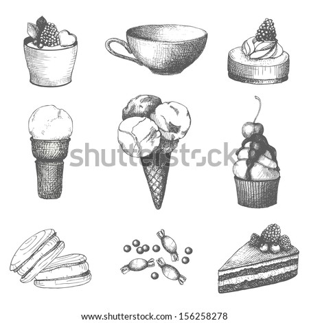 Vector set of hand drawn sweet and pastry isolated on white - stock vector