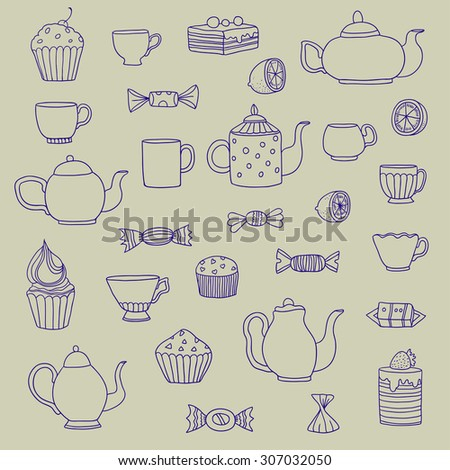 Vector set of hand drawn teapots, cups and dessert.