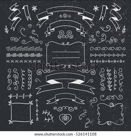 Vector set of hand drawn vintage dividers, frames, flowers, ribbons. Black and white. Use as decoration for cards, invitations, banners, ad, cover.