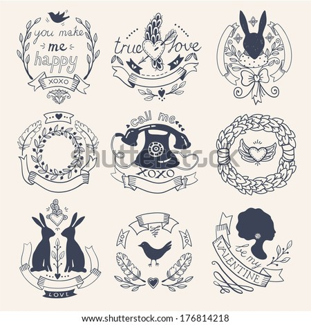 vector set of hand drawn vintage elements - stock vector