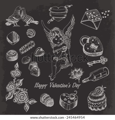 Vector set of hand drawn vintage valentine's day collection on dark background. Vector illustration for your design - stock vector