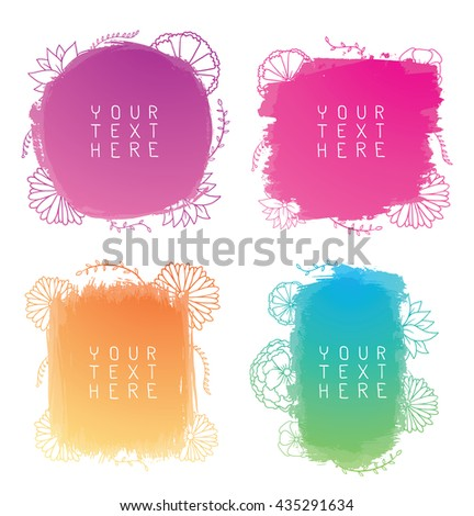Vector set of hand-drawn watercolor brush strokes of different shapes and colors with contours of flowers on a white background. Brush smear stain texture. Figured brush strokes. Watercolor background