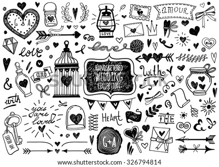 Vector set of hand-drawn Wedding elements. Set of Ornamental Wedding Style Elements. Arrows, heart, text, ribbon, beautiful bottles, catchwords and other elements. - stock vector