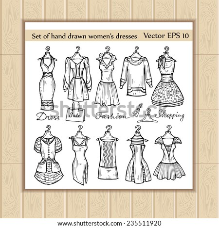 Vector set of hand drawn women's dresses on hangers. Sketches for use in design - stock vector