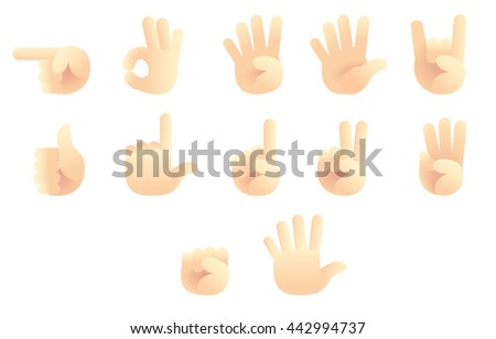 Vector Set of Hand Gestures isolated on White Background