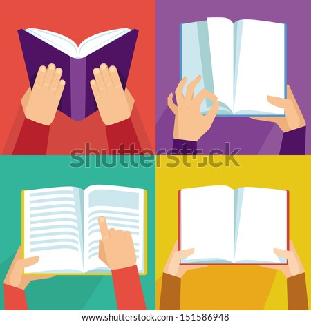 Vector set of hand holding books - icons in flat retro style - stock vector
