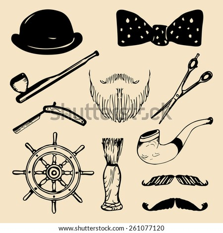 Vector set of hand sketched hipster vintage elements. Retro hipster collection - stock vector