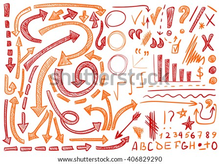VECTOR set of hand-sketched icons. Decorative elements for text correction or planning. Red and orange colors  - stock vector