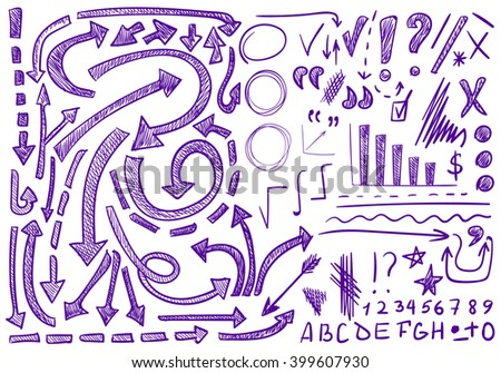 VECTOR set of hand-sketched icons. Elements for text correction or planning. Purple color, pen drawings   - stock vector