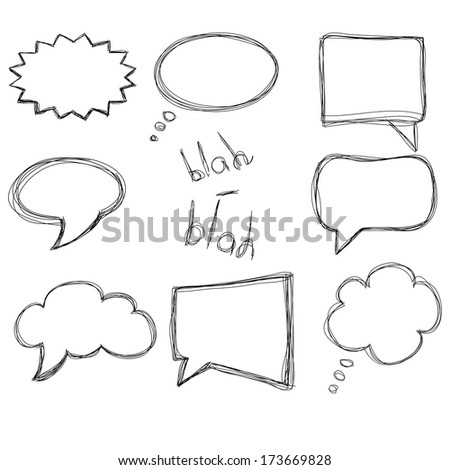 Vector set of hand sketched speech bubbles, isolated on white