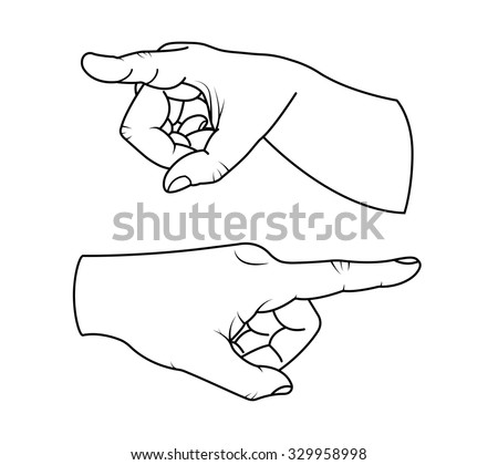 Vector set of hand with pointing finger
