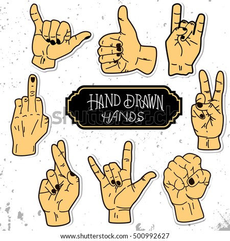 Vector set of hands and gestures. Hands collection - vector illustration.