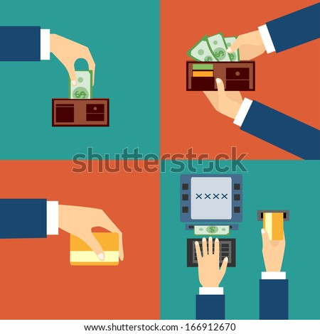 Vector set of hands - to withdraw money from an ATM - stock vector