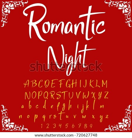 Vector Set Of Handwritten ABC Letters Handcrafted Script Alphabet Calligraphy Font Named