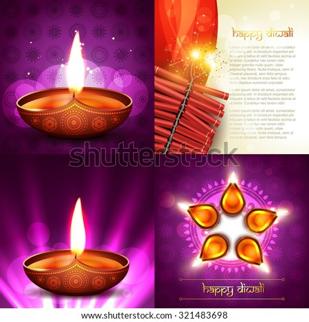 vector set of happy diwali background illustration with decorated diya placed on rangoli and crackers - stock vector
