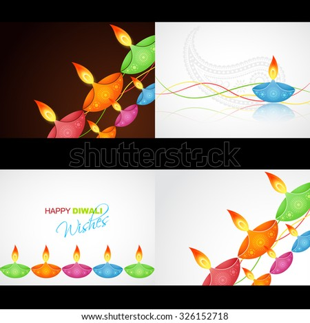 vector set of happy diwali background with colorful diya and wave illustration - stock vector